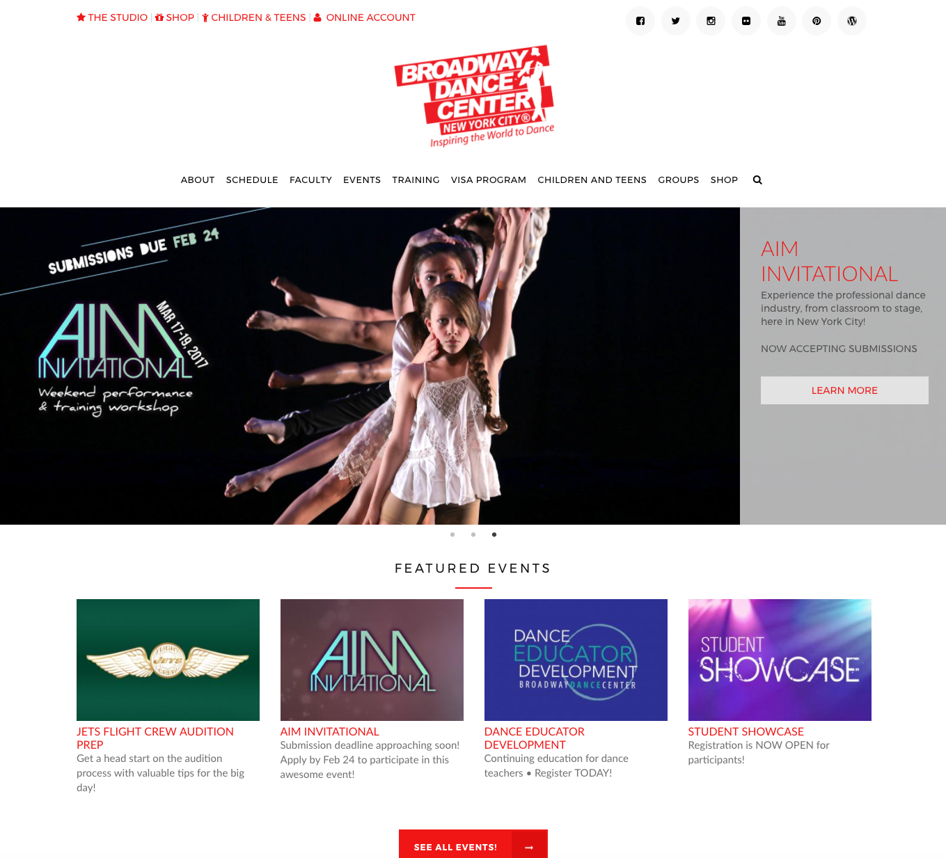 Broadway Dance Center homepage